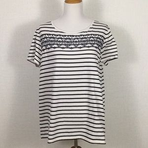 NWOT LOFT striped T with embroidery 🧵👚